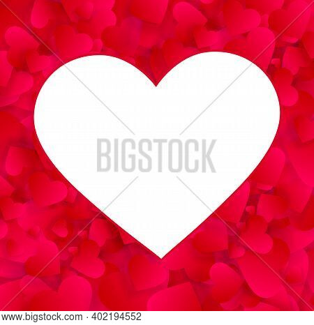 Heart Photo Frame Vector Empty Border, Love Background With Red Hearts Confetti Or Petals. Photofram