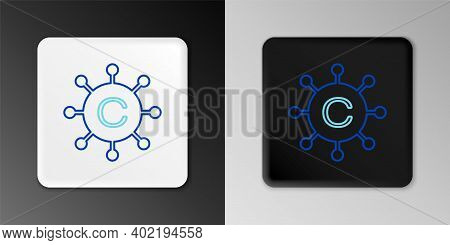 Line Copywriting Network Icon Isolated On Grey Background. Content Networking Symbol. Copyright Sign