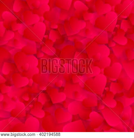 Valentine Love Hearts Abstract Background, Vector Pattern, 3d Effect Texture With Red Petals Or Conf