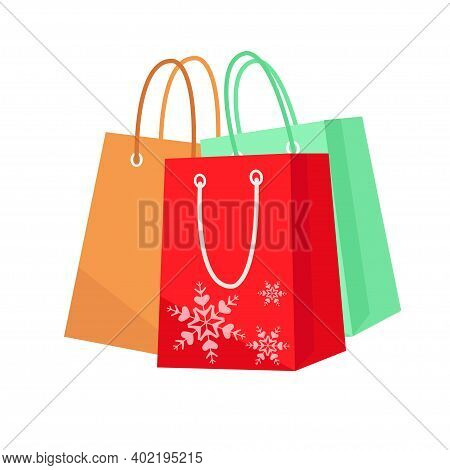 Paper Bag. Eco-friendly Shopping Bags. Paper Bags For Winter Gifts. Set Paper Bag. Winter Holidays G