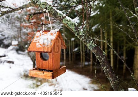 Wooden Bird Feeder In A Snowy Landscape. Feeding For Birds. Bird Feeder On The Edge Of The Forest.