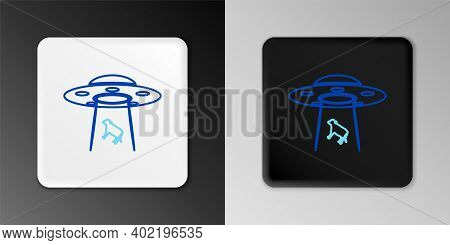 Line Ufo Abducts Cow Icon Isolated On Grey Background. Flying Saucer. Alien Space Ship. Futuristic U