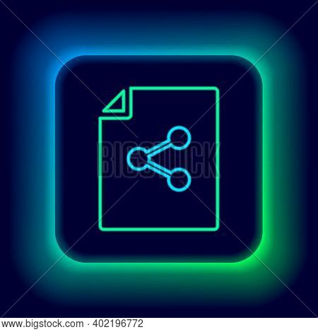 Glowing Neon Line Share File Icon Isolated On Black Background. File Sharing. File Transfer Sign. Co
