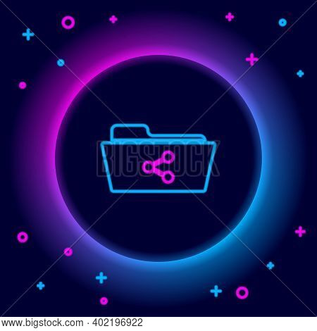 Glowing Neon Line Share Folder Icon Isolated On Black Background. Folder Sharing. Folder Transfer Si