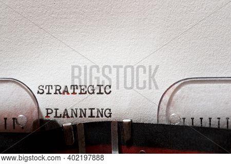 Strategic planning phrase written with a typewriter.