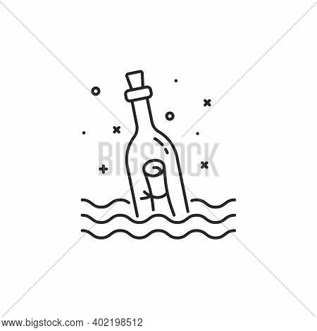 Black Message Bottle Thin Line Icon. Concept Of Rescue Survivors Or Request For Help. Flat Stroke Tr