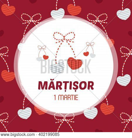 Martisor Hearts Trinket Vector Card, Illustration. March 1st Holiday Of Spring In Romania And Moldov