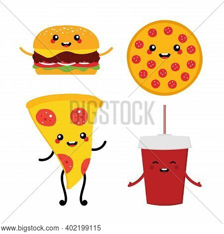 Set, Collection Of Cute Vector Cartoon Fast Food Characters. Cheeseburger, Whole Pizza And Pizza Sli