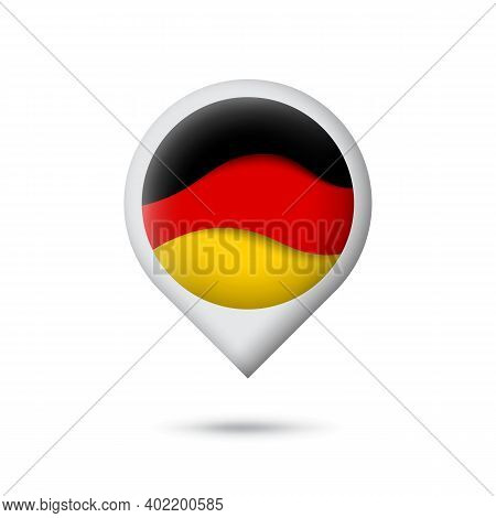Germany Flag Icon In The Shape Of Pointer, Map Marker. Waving In The Wind. Abstract Waving Germany F