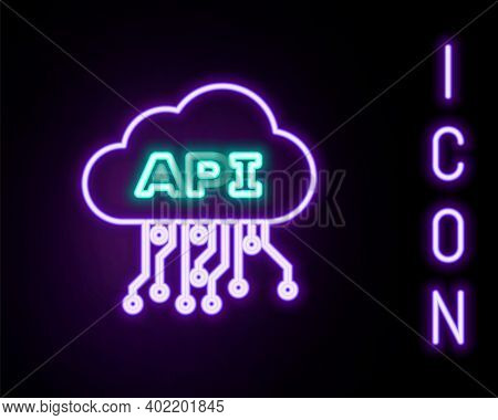 Glowing Neon Line Cloud Api Interface Icon Isolated On Black Background. Application Programming Int