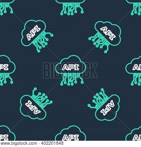 Line Cloud Api Interface Icon Isolated Seamless Pattern On Black Background. Application Programming