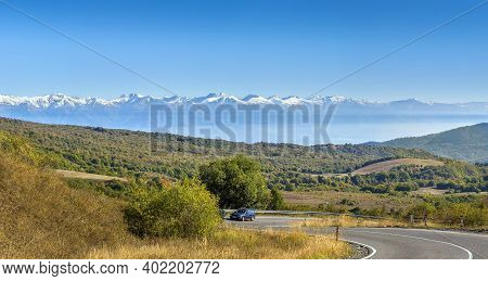 Panoramic View With Mountains From Gombori Pass, Georgia