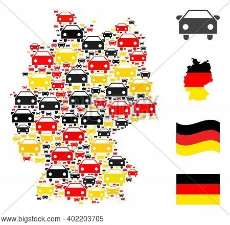 Germany Map Mosaic In Germany Flag Official Colors - Red, Yellow, Black. Vector Car Items Are Combin