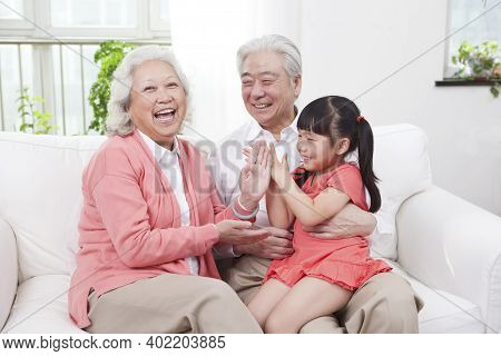 Happy Grandparents And Grandchildren Are Playing In The Living Room High Quality Photo