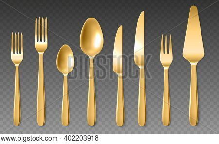 Realistic Golden Cutlery. Luxury Shiny Spoons, Knives And Forks, Yellow Metal 3d Clean Closeup Dinne
