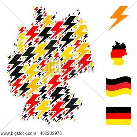 Germany State Map Mosaic In Germany Flag Official Colors - Red, Yellow, Black. Vector Flash Elements