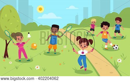 Children Outdoor Sport. Kids Summer Outdoor Physical Activities, Cute Girls And Boys Park Games, Foo