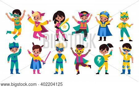 Kids Superheroes. Children In Superhero Comics Costumes, Cute Brave Girls And Strong Boys In Colorfu