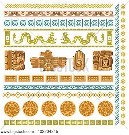 Maya Civilization Graphics Patterns. Aztec Decoration Elements Frames And Borders, Inca Ancient Art