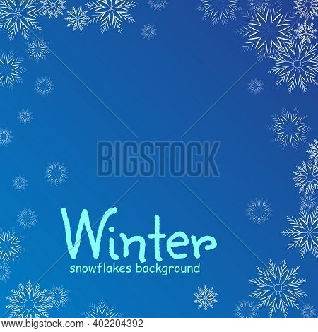 Winter Blue Background With White Falling Snowflakes. Celebrations Snowfall Vector Illustration