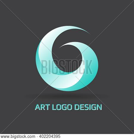 Circle Swirl Logo Design Elements Pattern. Vector Abstract Spiral Symbol In Line Art Style