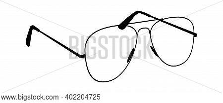 Glasses Silhouettes. Black Eyewear Vintage Hipster Eyeglasses, Angle View, Fashionable Modern Eyewea