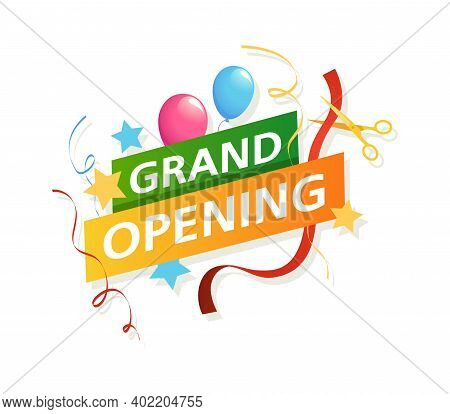 Grand Opening Banner. Vector Promo Flyer With Scissors, Ribbons And Balloons, Big Official Opening C