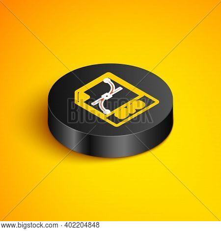 Isometric Line Svg File Document. Download Svg Button Icon Isolated On Yellow Background. Svg File S