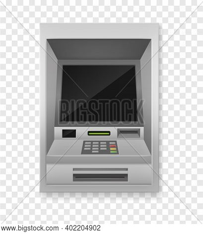 Atm Terminal. Realistic Payment Machine Front View, Automated Teller For Finance Service, Banking El