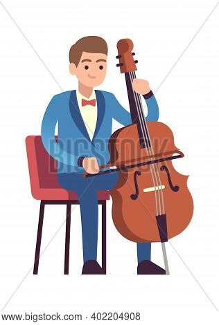 Cellist Performance. Classic Male Musician Character In Blue Dress With Cello Plays Melody, Violonce