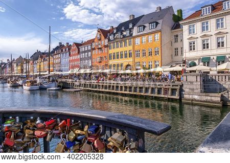 Padlock And Scenic Summer View Of Color Buildings And Boats Of Nyhavn In Copenhagen, Denmark
