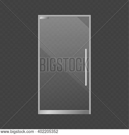 Realistic Closed Glass Door. Exterior Market Or Store Element, Modern Transparent Supermarket, Offic