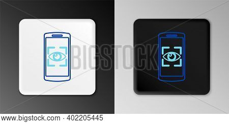 Line Mobile Phone And Eye Scan Icon Isolated On Grey Background. Scanning Eye. Security Check Symbol