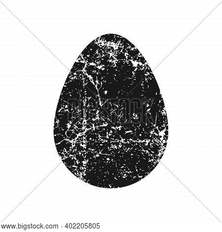 Egg Vector Shape Icon With Grunge Texture. Simple Flat Easter Symbol. Cooking And Food Sign. Bird Eg