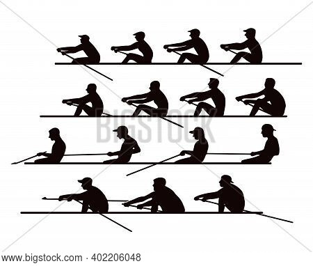 4 Teams Of Rowers In Boats And Canoes For The Race. Silhouette. Vector Illustration