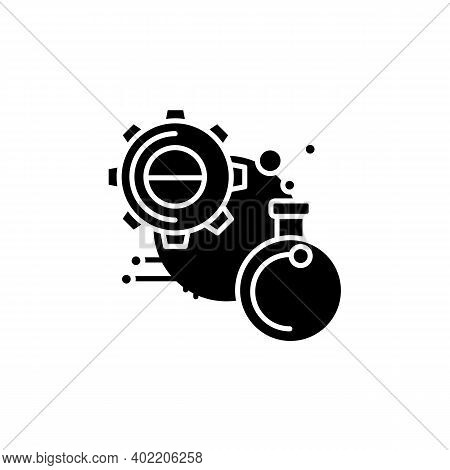 Experiment Glyph Icon. Glass Bulb With Gear And Information Link Filled Flat Sign. Creative Idea Tes