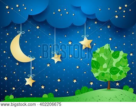 Surreal Background With Moon And Tree, Vector Illustration Eps10
