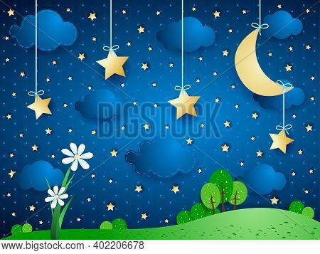 Surreal Background With Moon, Clouds And Flowers. Vector Illustration Eps10