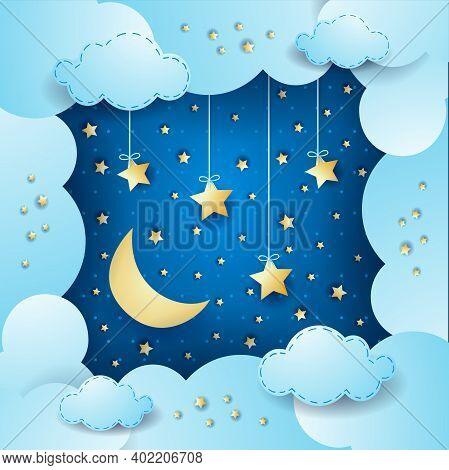 Surreal Cloudscape With Moon And Hanging Stars. Vector Illustration Eps10