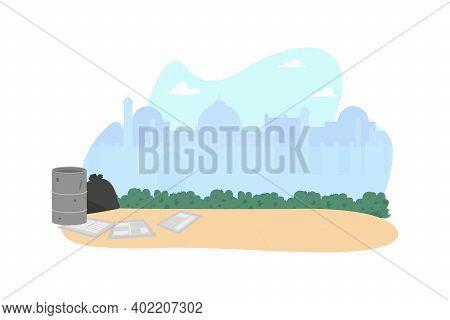 Indian Poverty District 2d Vector Web Banner, Poster. Homelessness Problem. Arabian Day Time Flat Ci
