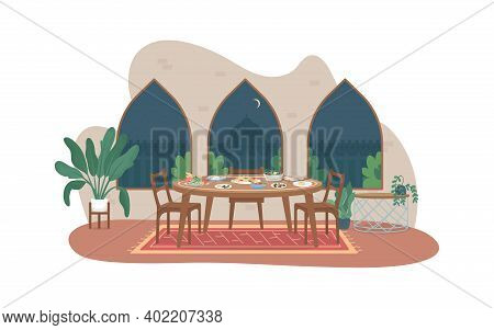 Ramadan Meal 2d Vector Web Banner, Poster. Family Dinner. Iftar, Ramazan Fasting. Traditional Indian