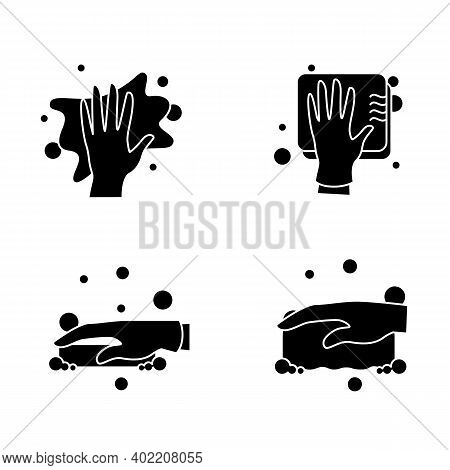 Surface Wiping Glyph Icons Set.housekeeper Hand In Glove Signs Collection.wet Cleaning With Sponge,