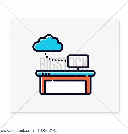 Work Data Cloud Storage Color Icon. Database. Workflow Optimization. Smart Emerging Technologies. Co
