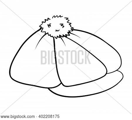Beret With A Pompom And A Visor. Isolated Outline Black And White Drawing. Doodle.