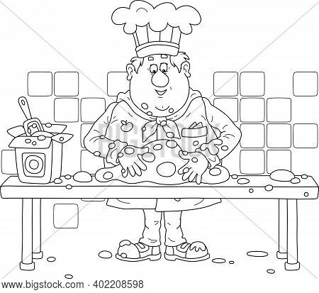 Funny Fat Cook In Uniform Standing At His Kitchen Table And Kneading Dough To Cook A Tasty Pie For A