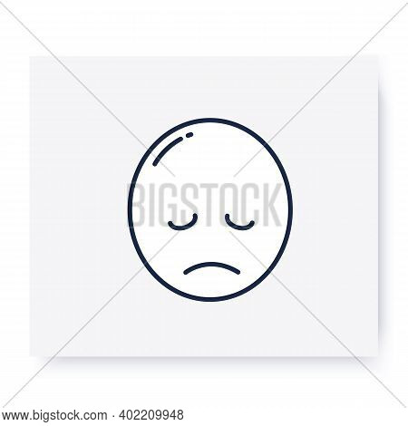 Pensive Face Line Icon. Sad Face With Closed Eyes. Disappointed, Hurt Or Lonely Emoticon. Outline Dr