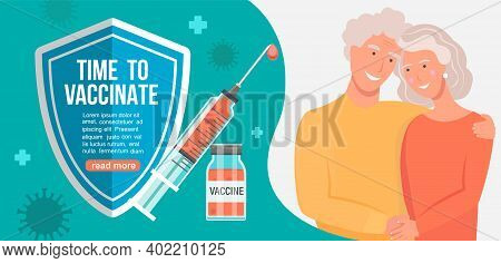 Time To Vaccinate Grandparents Banner.call For Vaccine Use.injection That Protects Health.health Car