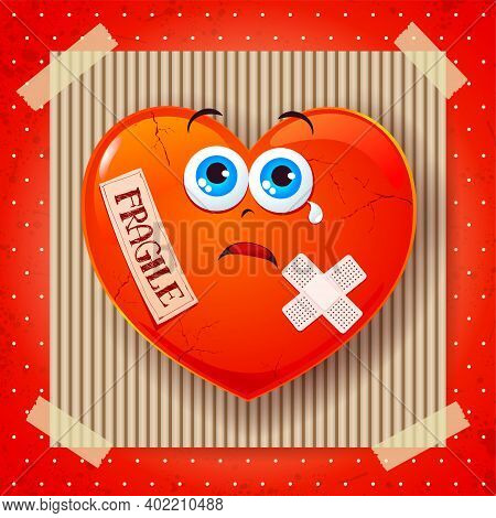 Fragile Heart, Cartoon Background. Vector Illustration Eps10