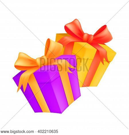 Two Gift Boxes With Golden And Red Ribbons And Bows. Vector Illustration Of Wrapped Carton Presents