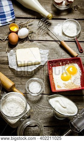Preparation Of The Dough. Ingredients For The Dough - Milk, Cream, Butter, Flour, Salt, Eggs And Dif